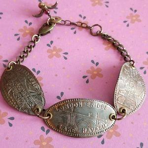 Pressed penny travel souvenir bracelet bird coin